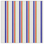 [ Thumbnail: Green, Red, Light Gray, Dark Blue & White Lines Fabric ]