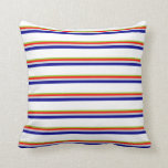 [ Thumbnail: Green, Red, Light Gray, Dark Blue & White Lines Throw Pillow ]