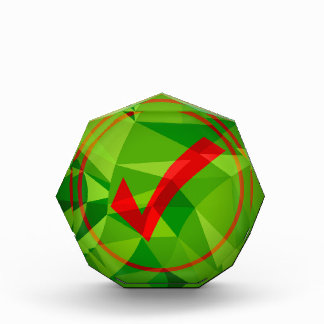 Green Red Low Poly Checkmark Icon Background Acrylic Award