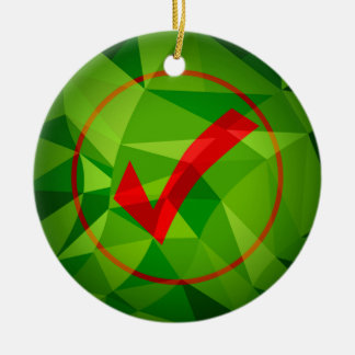 Green Red Low Poly Checkmark Icon Background Round Ceramic Ornament