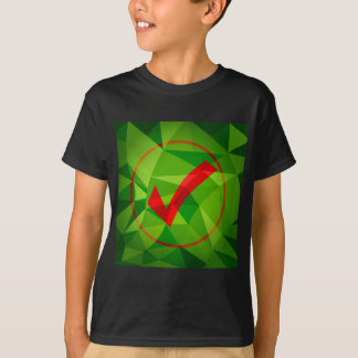 Green Red Low Poly Checkmark Icon Background T-Shirt