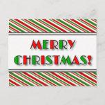 "[ Thumbnail: Green & Red ""Merry Christmas!"" + Stripes Postcard ]"