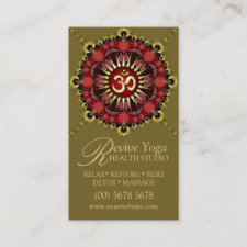 Green Red NewAge Gold OM Sign Yoga Business Cards