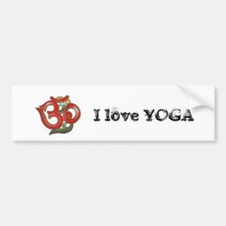 green red OM - I love Yoga - Bumper Sticker