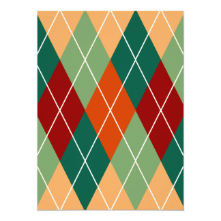 Green Red Orange Argyle Pattern Card