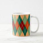 Green Red Orange Argyle Pattern Classic White Coffee Mug