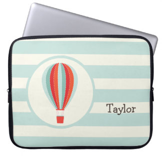 Green, Red, Orange Hot Air Balloon Computer Sleeve