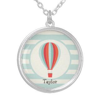 Green, Red, Orange Hot Air Balloon Round Pendant Necklace