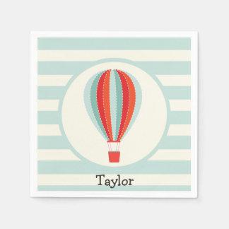 Green, Red, Orange Hot Air Balloon Paper Napkin