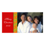 Green Red Orange Paisley Family Christmas Photo Photo Card