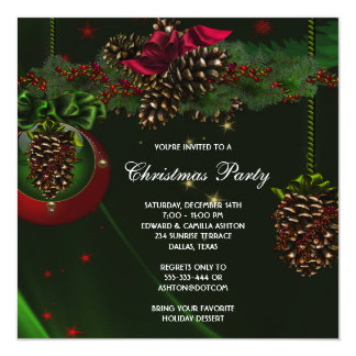 Green Red Pine Cones Elegant Christmas Party 5.25x5.25 Square Paper Invitation Card
