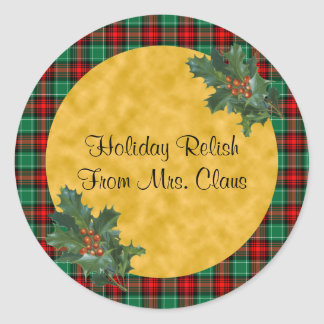 Green Red Plaid and Holly Custom Holiday Stickers