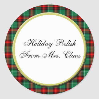 Green Red Plaid Custom Holiday Baking Stickers