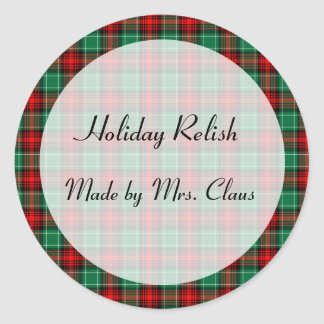 Green Red Plaid Custom Holiday Canning Jar Labels Classic Round Sticker