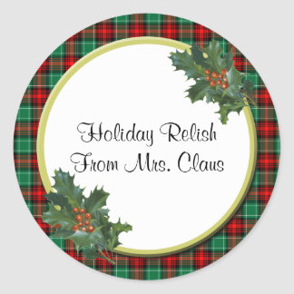 Green Red Plaid with Holly Custom Holiday Stickers