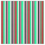 [ Thumbnail: Green, Red, Plum, Black & White Colored Stripes Fabric ]
