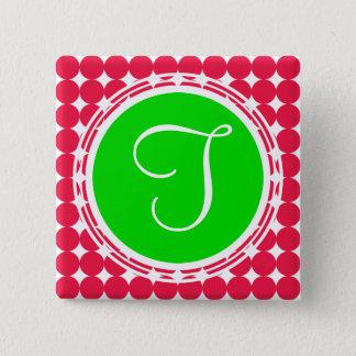 Green & Red Polka Dot Monogram Pinback Button