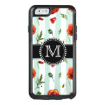 Green, Red Poppies, Flowers, Monogrammed Otterbox Iphone 6/6s Case at Zazzle