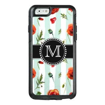 Green  Red Poppies  Flowers  Monogrammed Otterbox Iphone 6/6s Case by CoolestPhoneCases at Zazzle