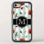Green, Red Poppies, Flowers, Monogrammed Otterbox Symmetry Iphone 7 Case at Zazzle