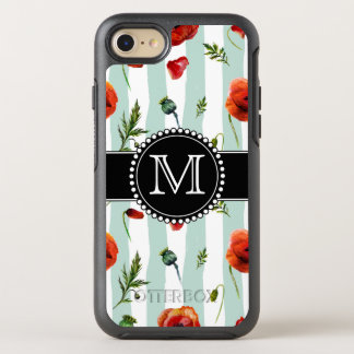 Green, Red Poppies, Flowers, Monogrammed OtterBox Symmetry iPhone 8/7 Case