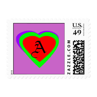 Green Red  - Purple Heart Letter A The MUSEUM Zazz Postage