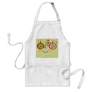 Green & Red Retro Christmas Ornaments Adult Apron