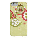 Green & Red Retro Christmas Ornaments Barely There iPhone 6 Case
