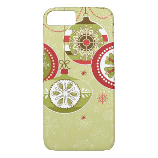 Green & Red Retro Christmas Ornaments iPhone 7 Case