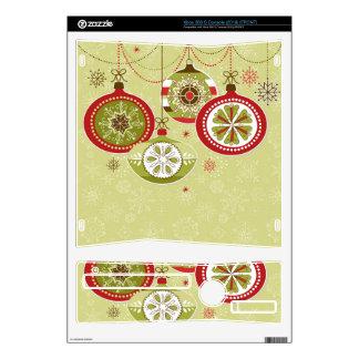Green & Red Retro Christmas Ornaments Xbox 360 S Console Skin