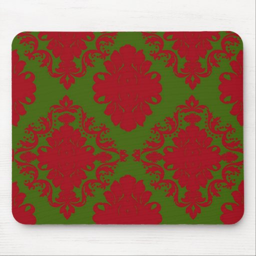 green red romantic christmas damask mouse pad
