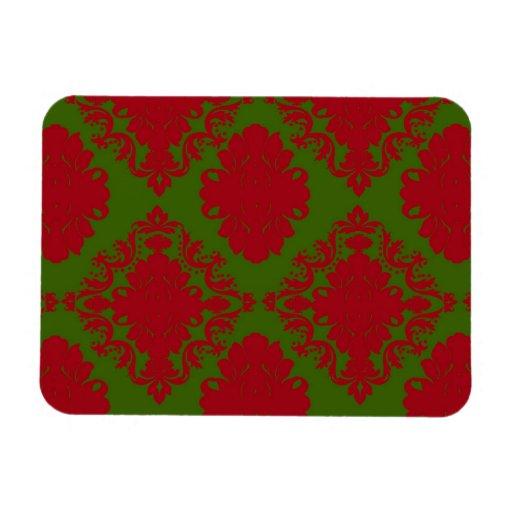 green red romantic christmas damask rectangular photo magnet