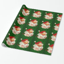 Green Red Santa Claus Ho Ho Ho Wrapping Paper