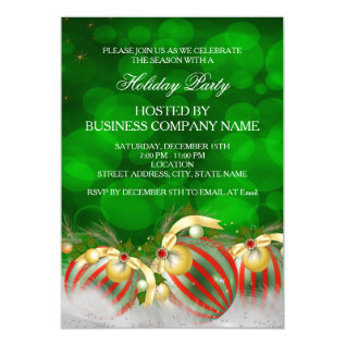 Green Red Silver Gold Holly Baubles Holiday Party Card at Zazzle