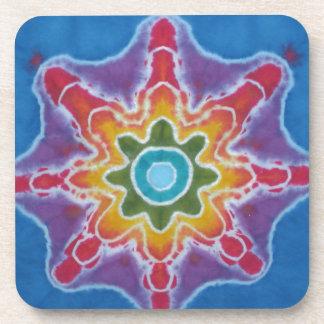 Green & Red Star Blue Background Tie Dye Beverage Coaster