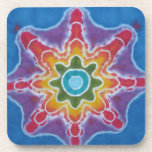Green & Red Star Blue Background Tie Dye Drink Coasters