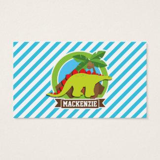 Green & Red Stegosaurus Dinosaur; Blue & White Business Card
