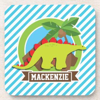 Green & Red Stegosaurus Dinosaur; Blue & White Beverage Coasters