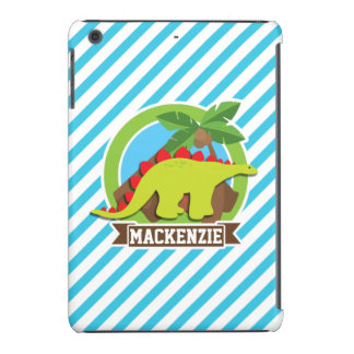 Green & Red Stegosaurus Dinosaur; Blue & White iPad Mini Retina Cases