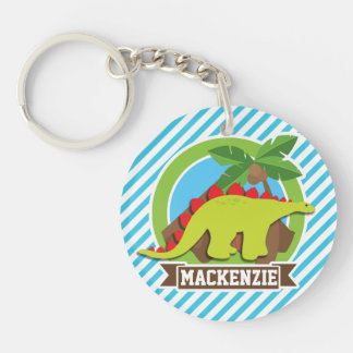 Green & Red Stegosaurus Dinosaur; Blue & White Double-Sided Round Acrylic Keychain