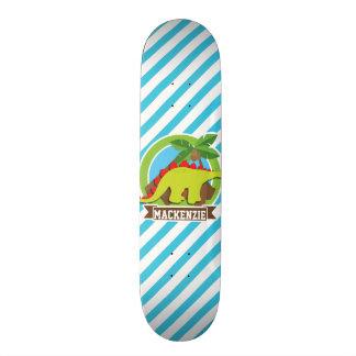 Green & Red Stegosaurus Dinosaur; Blue & White Skateboard Deck