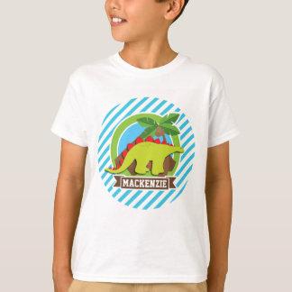 Green & Red Stegosaurus Dinosaur; Blue & White T-Shirt