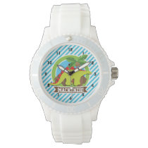 Green & Red Stegosaurus Dinosaur; Blue & White Wristwatch