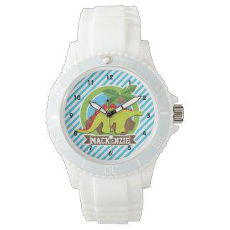 Green & Red Stegosaurus Dinosaur; Blue & White Wristwatch