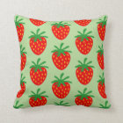 Green & red strawberry fruit pattern throw pillow