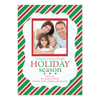 Green & Red Stripe Festive Holiday Photo Card