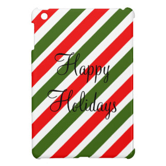 Green & Red Striped Design Christmas Candy Cane iPad Mini Cover