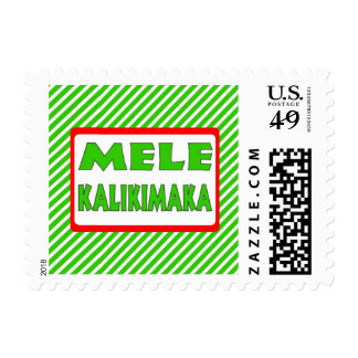 Green red stripes Hawaii Christmas holiday stamps