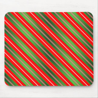 Green Red Stripes Mouse Pad
