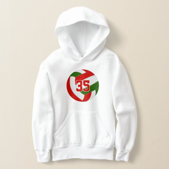 green red team colors jersey number volleyball hoodie